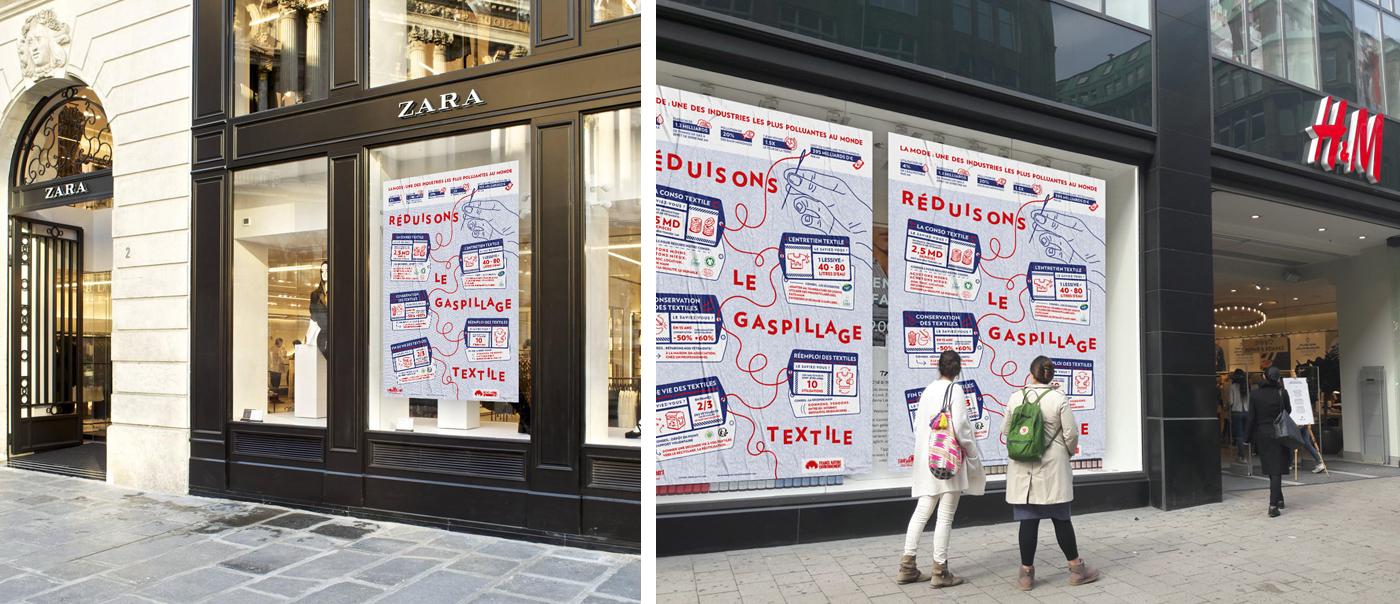 Affiches contre le gaspillage textile collées sur les vitrines des boutiques Zara et H&M