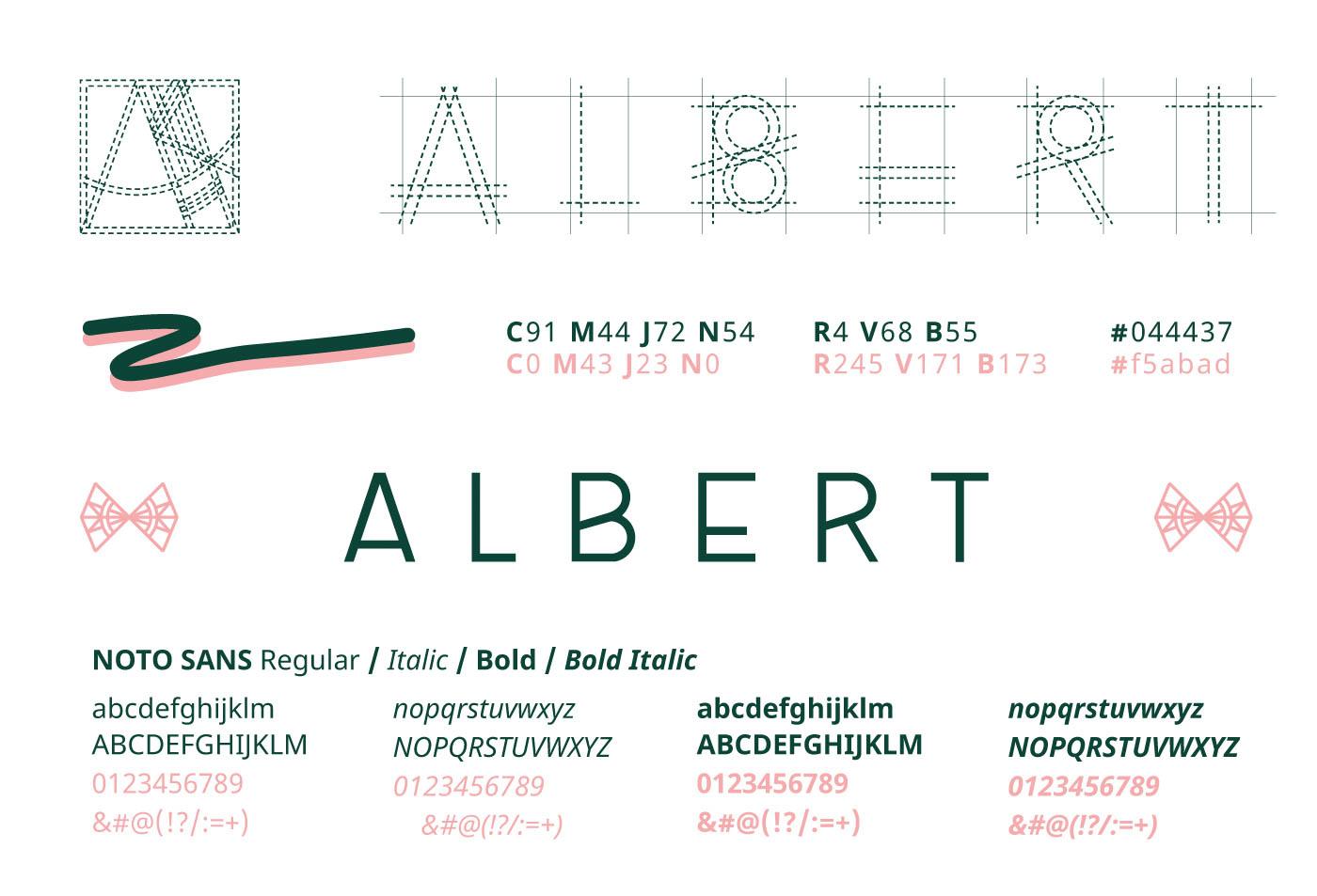 Détail de la charte graphique et de la conception du logo Atelier Albert : formes, typographies et couleurs