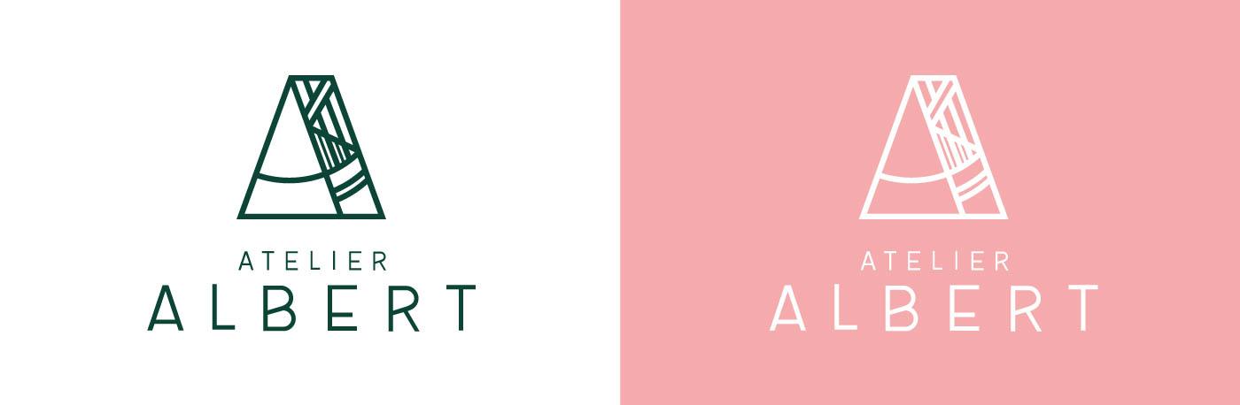 Logo Atelier Albert en vert sur fond blanc et en blanc sur fond rose