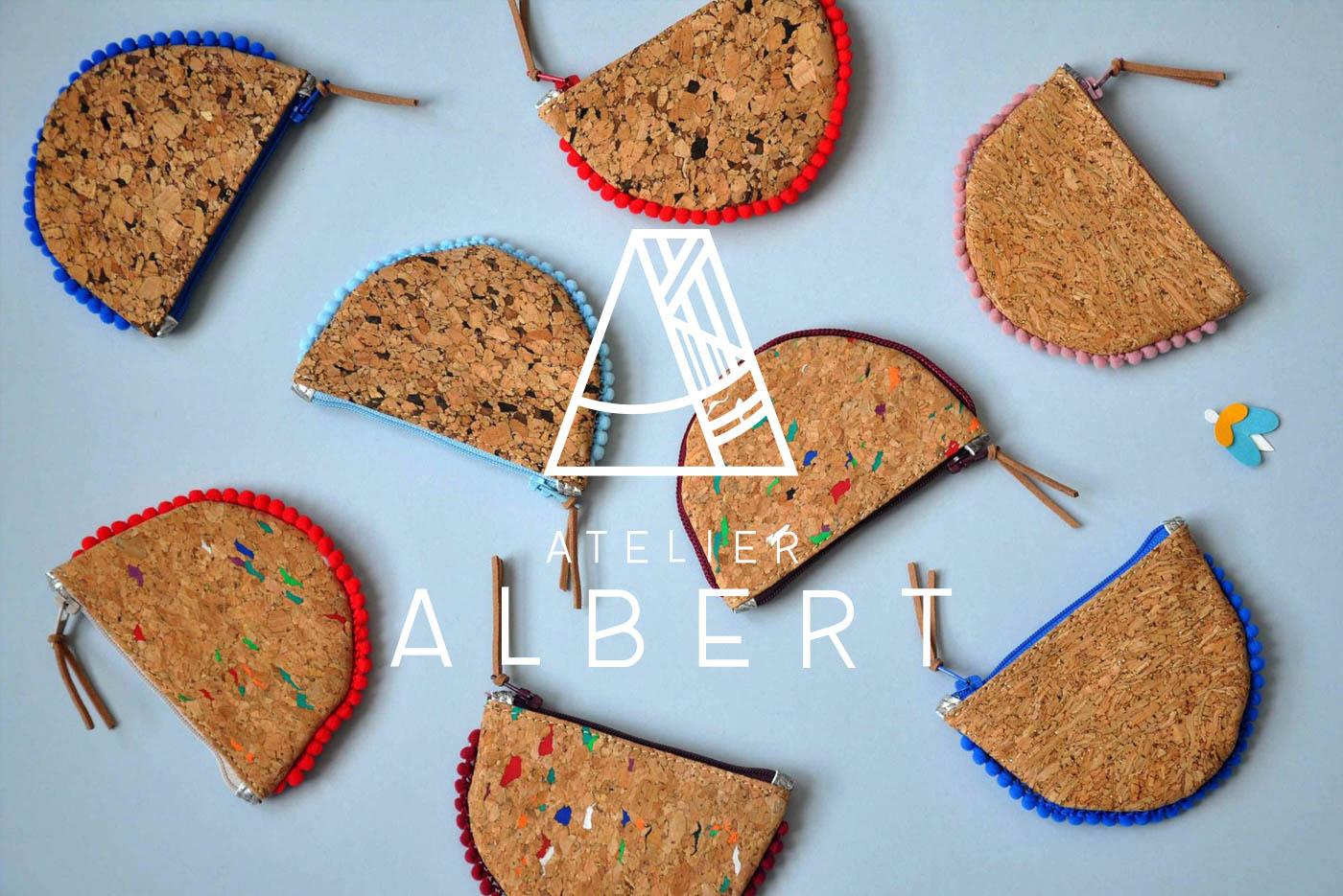 Ensemble de porte-monnaie de l'Atelier Albert avec son logo en blanc