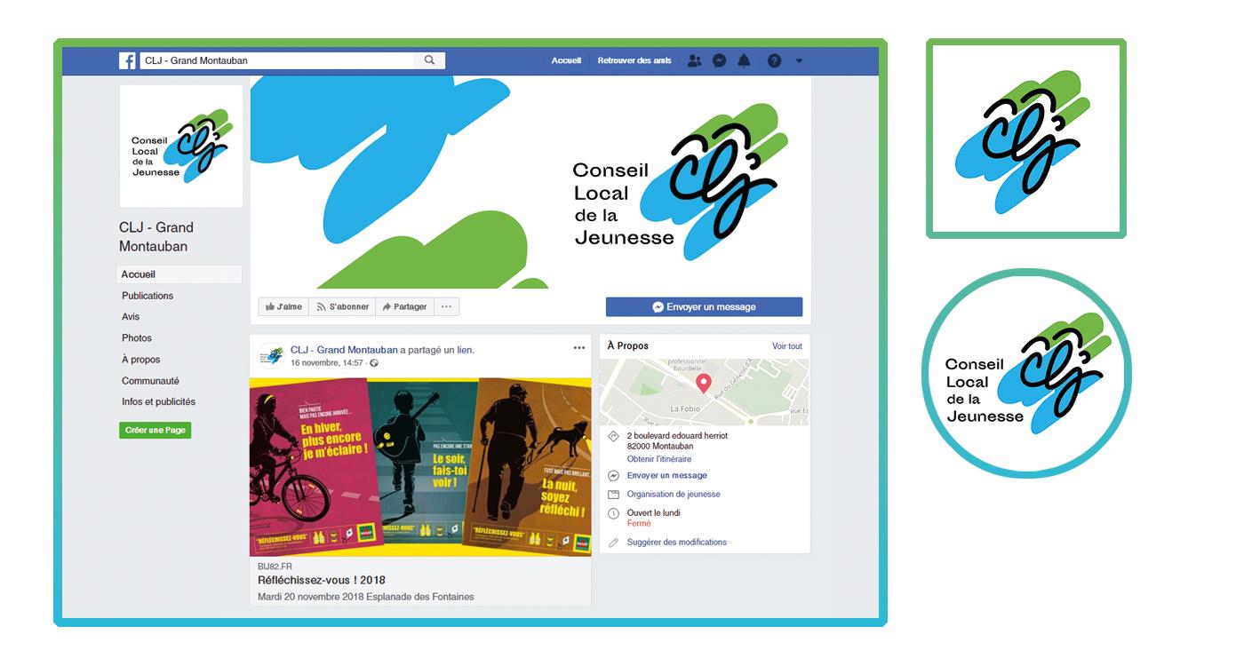 Captures d'écran des réseaux sociaux de CLJ, profil facebook avec photo de profil et de couverture