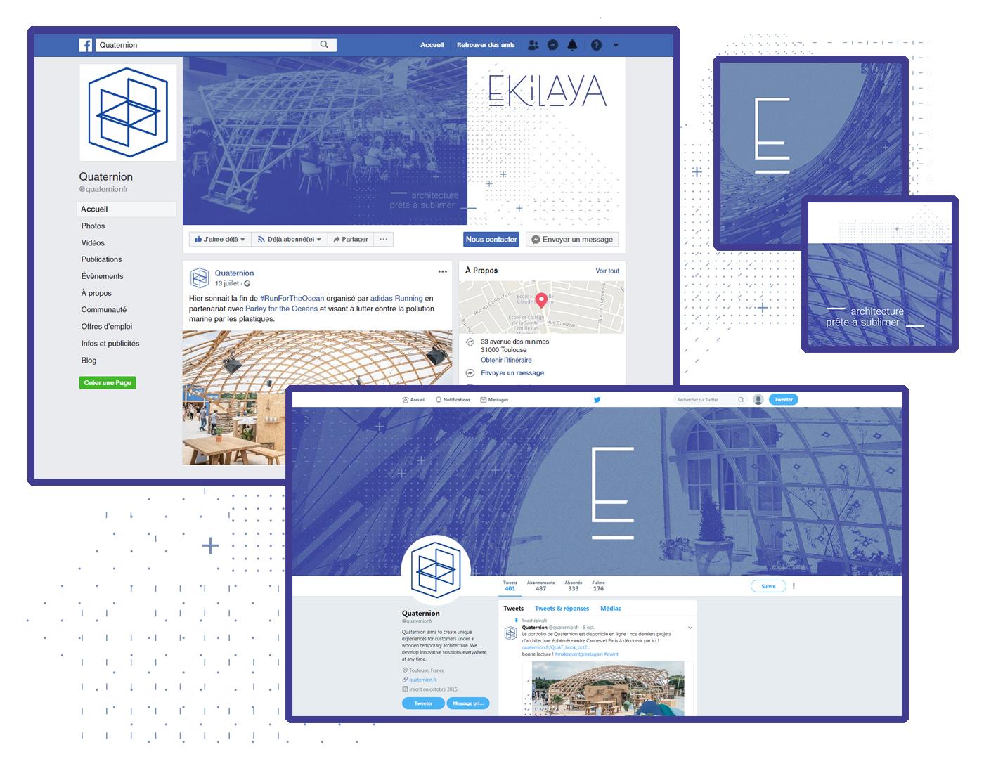 Captures d'écran des réseaux sociaux d'Ekilaya : profils facebook et twitter