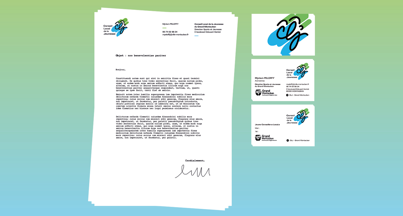 Ensemble papeterie avec le logo CLJ sur fond dégradé : entête de lettre, carte de visite