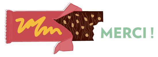 """Barre de chocolat """"merci"""" pour terminer le dossier cacao FNE."""