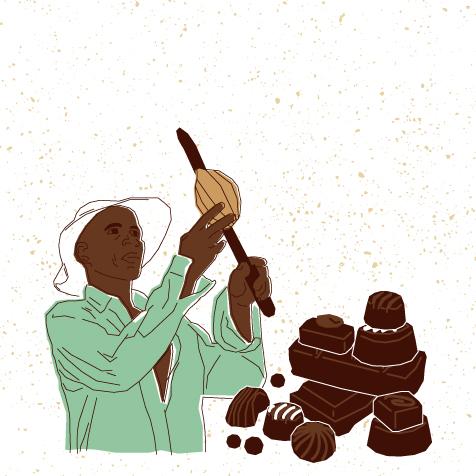 Visuel fermier et chocolats pour la vidéo 3 du dossier FNE cacao