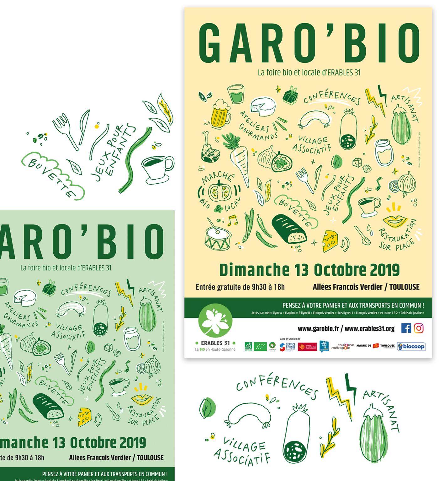 Présentation de l'affiche pour GaroBio la foire bio et locale d'Erables 31 en deux couleurs : vert et jaune. Ensemble d'illustrations sur le thème de la nourriture bio.