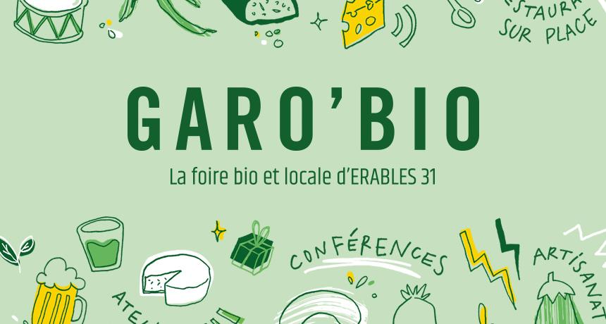 GaroBio illustration pour une foire locale toulousaine : pain, fromage, légumes, ateliers, jeux