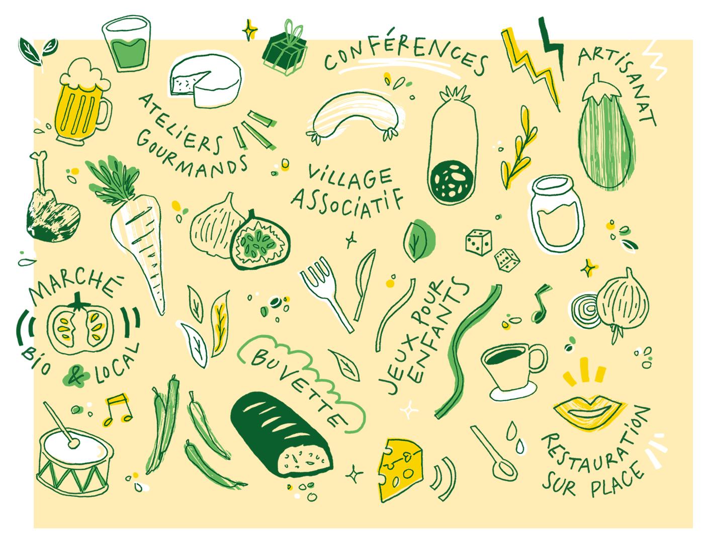 Détail de tous les éléments illustratifs et typographiques créés pour GaroBio la foire bio et locale d'Erables 31 : choppe de bière, verre de jus, fromages, saucisse, aubergine, haricots, oignons, tasse de café, tomate, dés, carotte, tambour, cuisse de canard...