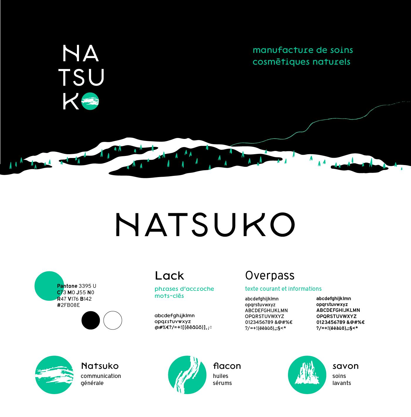 Détail de la charte graphique de Natsuko. Présentation du logotype, des couleurs, du motif graphique, des sceaux et des typographies Lack et Overpass