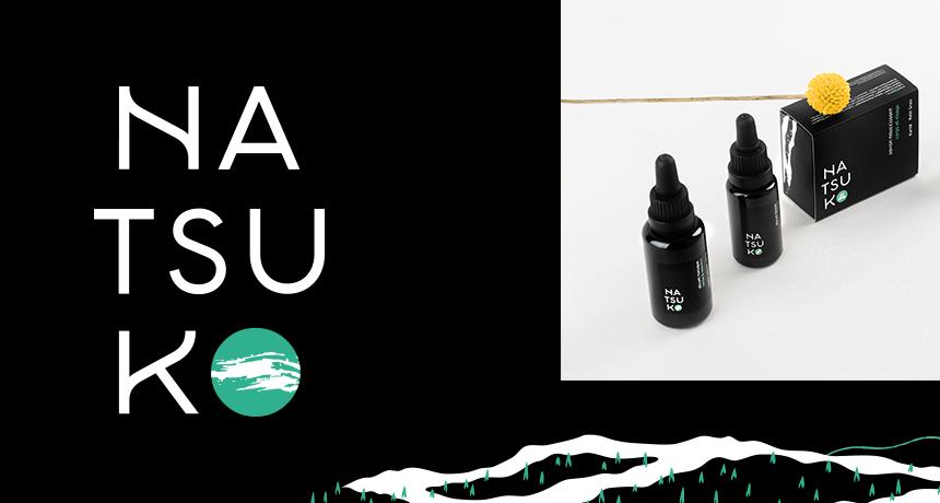 Logotype et packagings des soins naturels Natsuko : savons et flacon d'huiles, sérums