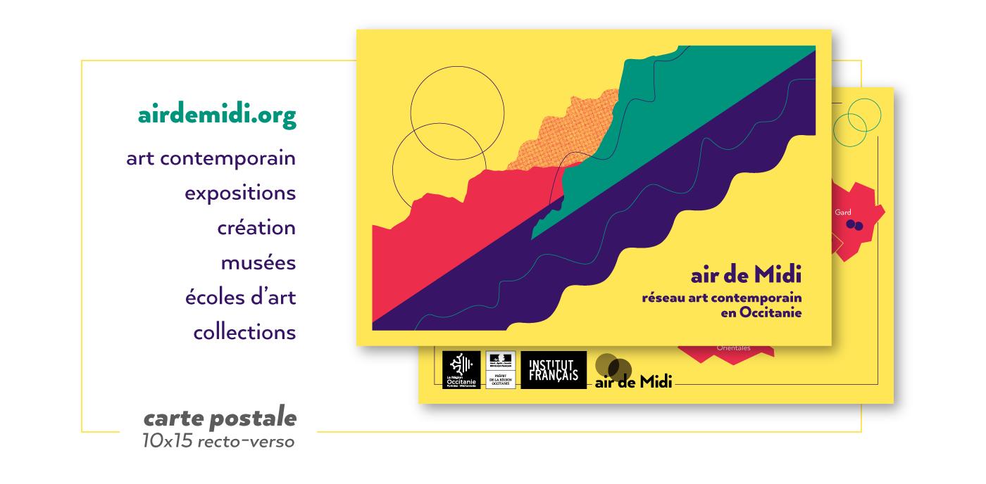 Carte Postale pour Air de Midi réseau art contemporain en Occitanie créée par Superfruit