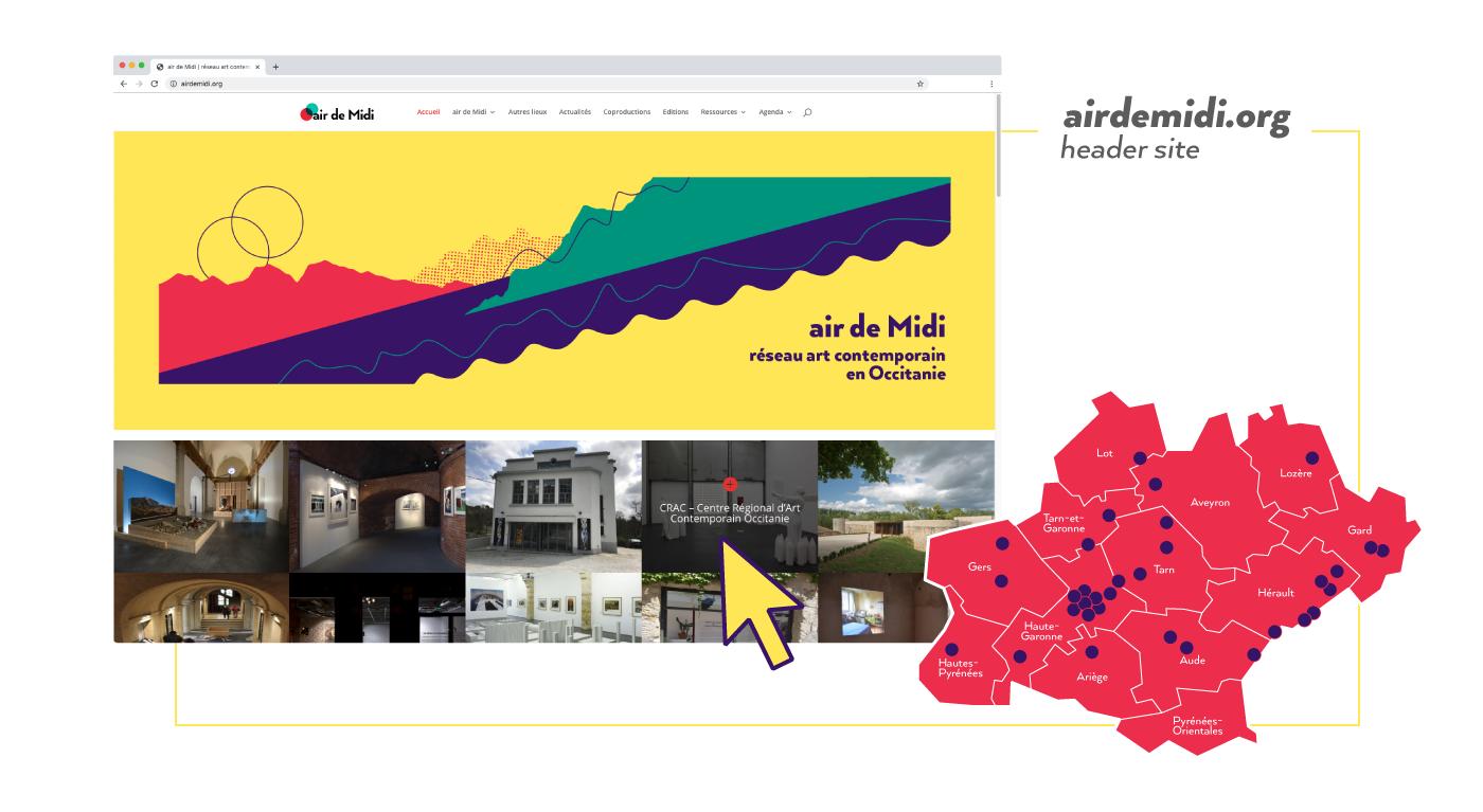 Visuel pour le header du site Air de Midi réseau art contemporain en Occitanie, basé sur le design de la carte postale créée par Superfruit. Carte géographique de la région Occitanie avec pointeurs désignant les membres du réseau d'art contemporain.