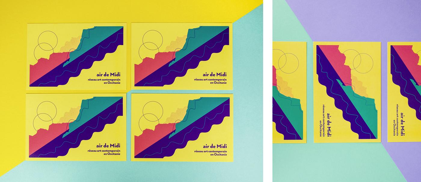 Photos du recto de la carte Postale pour Air de Midi réseau art contemporain en Occitanie créée par Superfruit