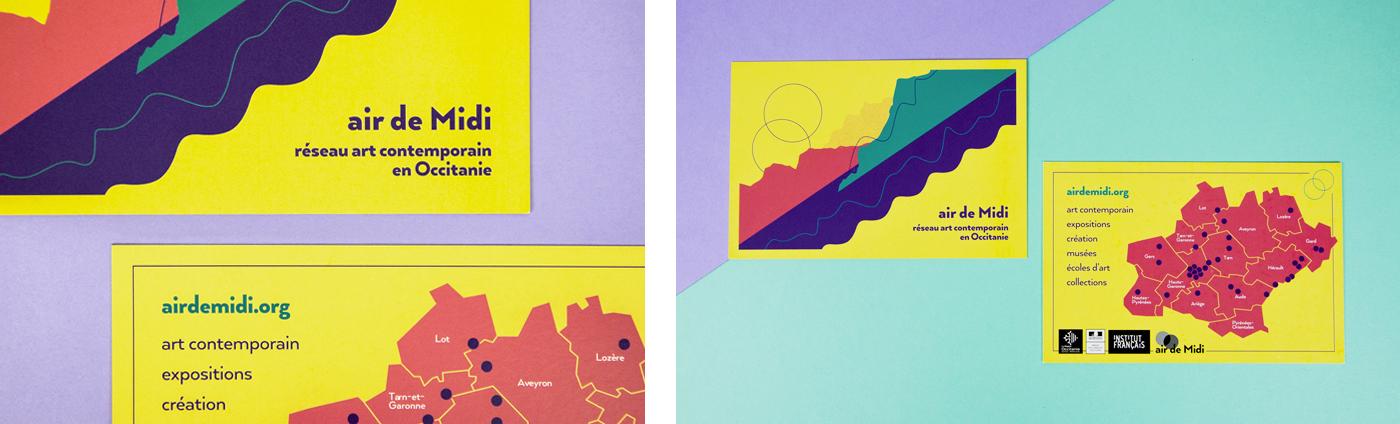 Photos des recto verso de la carte Postale pour Air de Midi réseau art contemporain en Occitanie créée par Superfruit