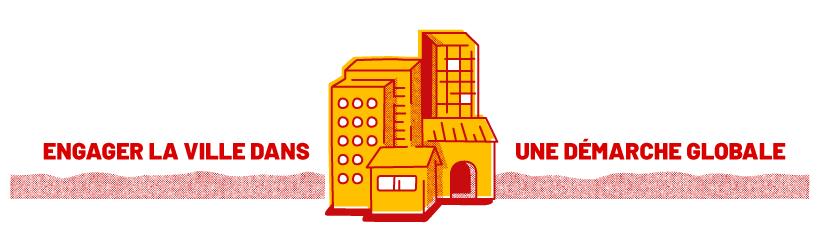 Visuel de titre du projet sur les déchets urbains pour France Nature Environnement : typographie, motif et illustration de building