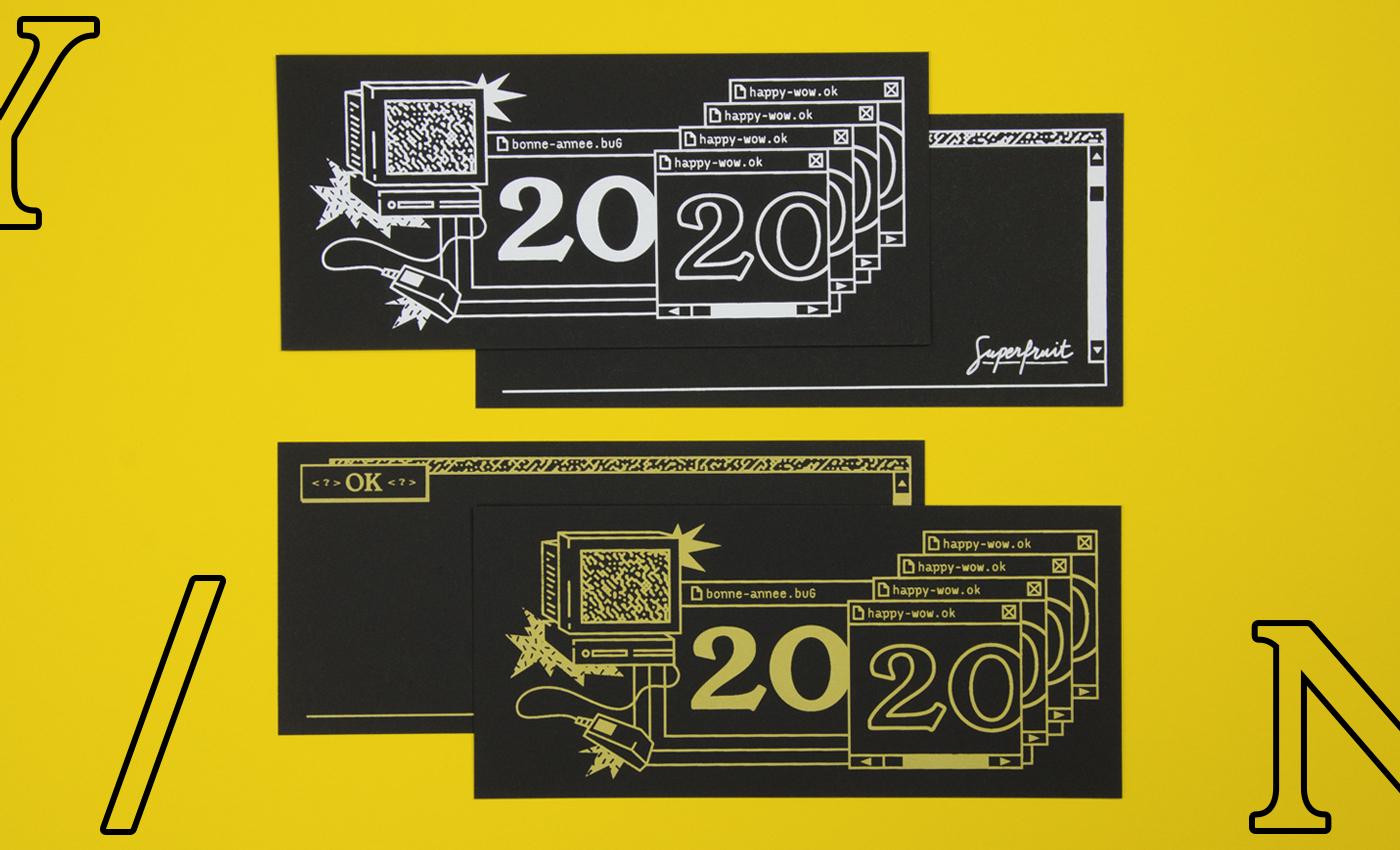 Carte de voeux 2020 en sérigraphie artisanale sur le thème du bug informatique de l'an 2000 : impressions recto verso en blanc ou or