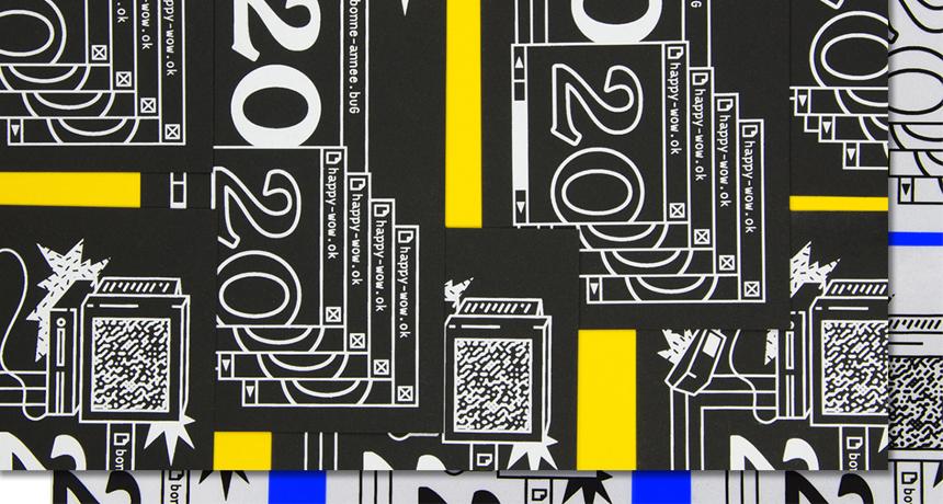 Carte de vœux 2020 sérigraphie d'un glitch informatique