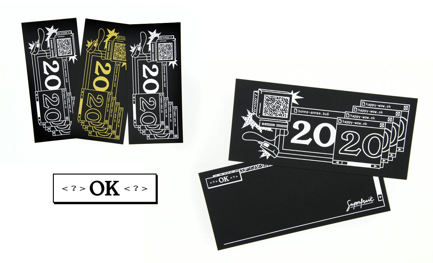 Présentation recto verso des cartes de voeux 2020 en sérigraphie artisanale sur le thème du bug informatique de l'an 2000 format à l'italienne