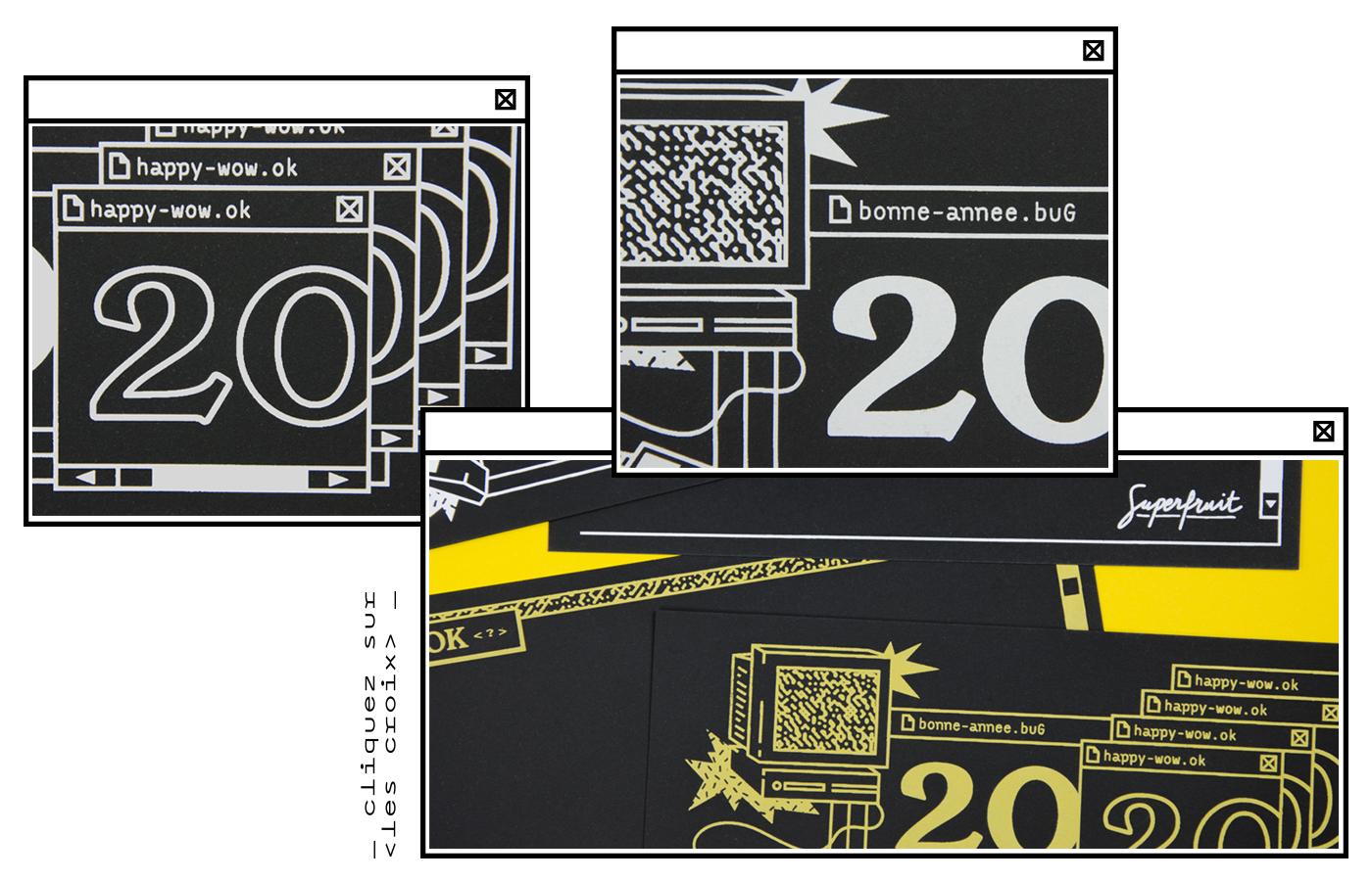 Détails des cartes de voeux 2020 en sérigraphie artisanale sur le thème du bug informatique de l'an 2000 : typographies, fenêtres superposées