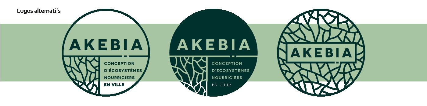 Détail des logotypes alternatifs de la charte graphique d'Akebia Ecosystèmes réalisée par Superfruit.