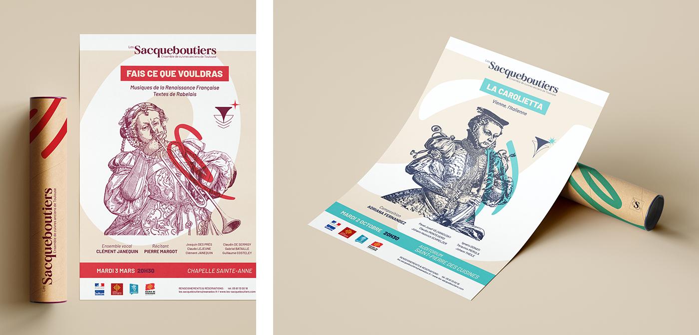 Détail des affiches des Sacqueboutiers conçues par Superfruit. Création de gabarits et de maquettes sur Scribus