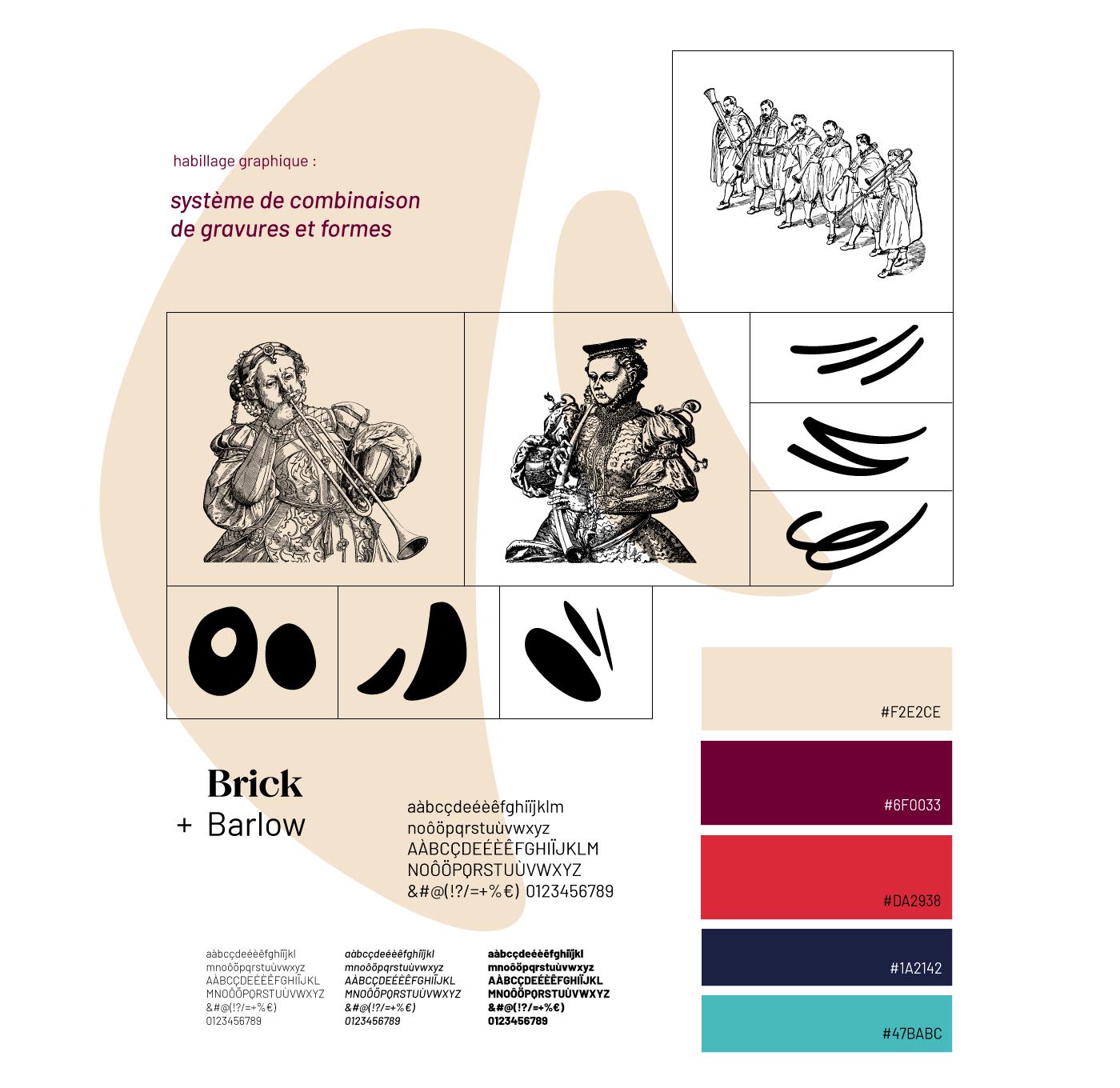 Détail de la charte graphique et de l'habillage créés pour les Sacqueboutiers par Superfruit. Sélection de 3 gravures, conception de motifs graphiques et présentation des typographies et des couleurs.