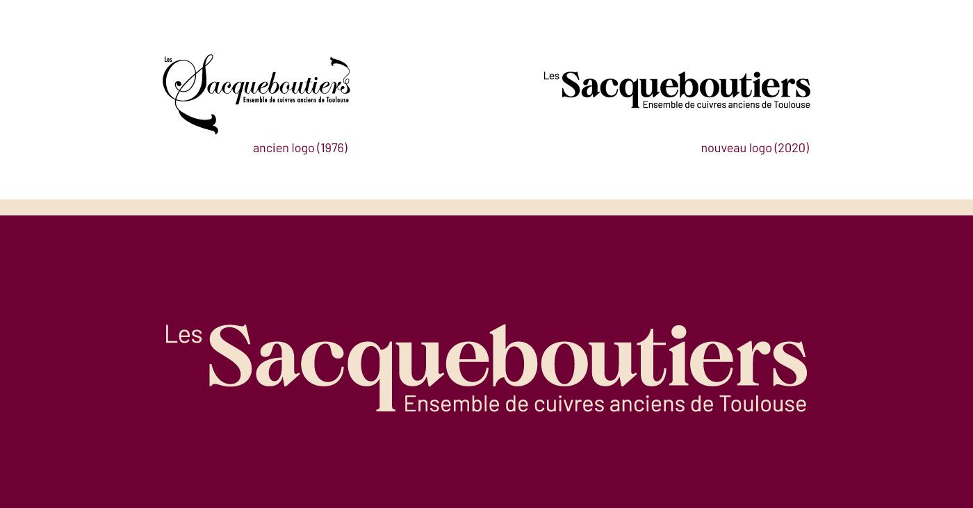 Présentation du nouveau logo des Sacqueboutiers réalisé par Superfruit. Comparaison avec l'ancien logo de 1976