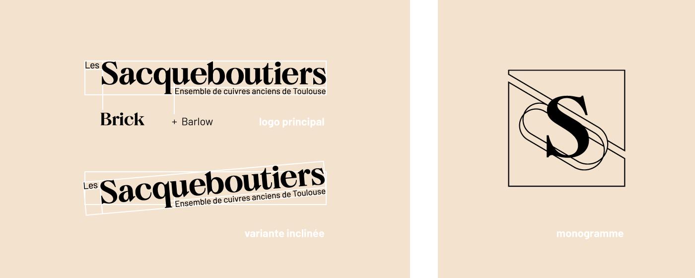Présentation du logotype et du monogramme des Sacqueboutiers créé par Superfruit