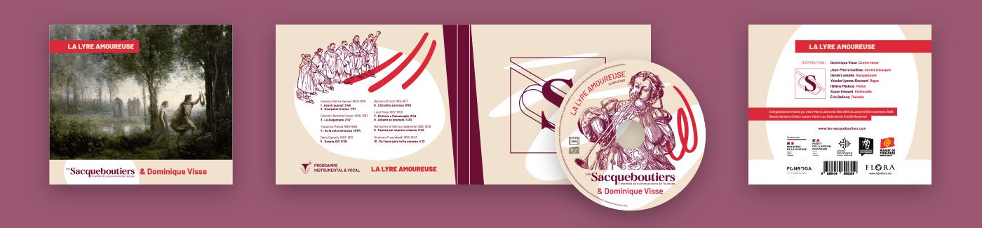 Présentation de l'habillage conçu par Superfruit pour le CD La Lyre Amoureuse, programme musical créé par les Sacqueboutiers