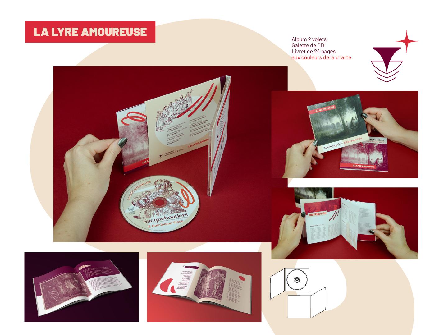 Photos et détails du CD, de la pochette et du livret réalisés par Superfruit pour le CD La Lyre Amoureuse des Sacqueboutiers
