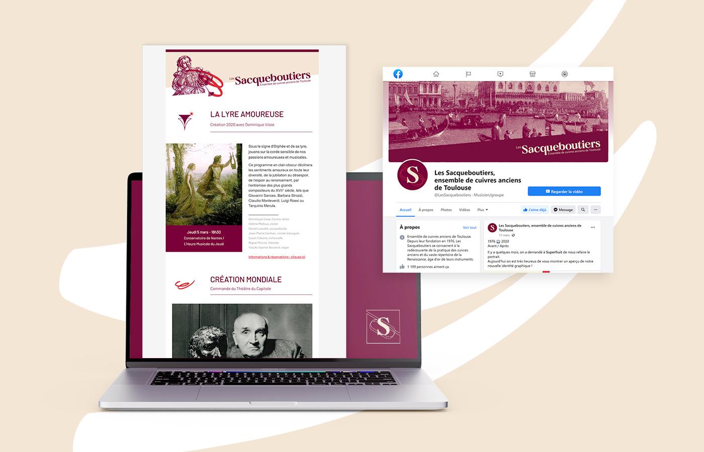 Détail de la newsletter et de la page facebook des Sacqueboutiers, habillage conçu par Superfruit
