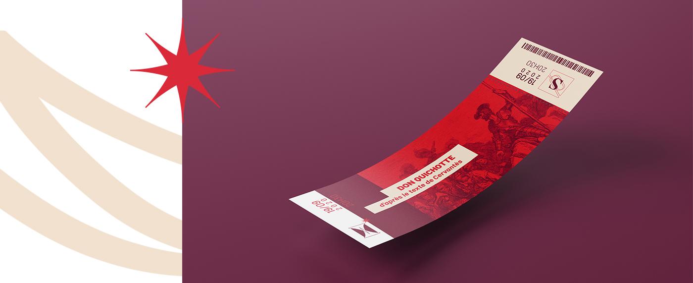 Exemple d'application de la charte graphique des Sacqueboutiers sur un ticket de spectacle. Création par Superfruit